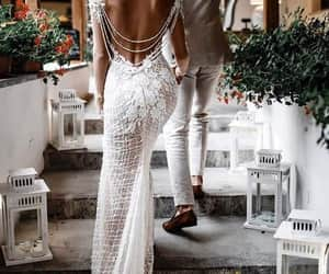fashion, beach wedding dress, and wedding dress image