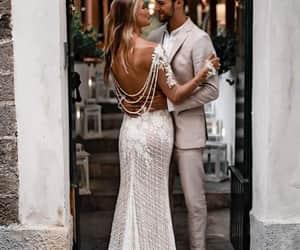 dress, fashion, and beach wedding image