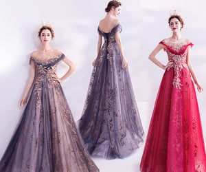 formal dresses, off-shoulder, and lace ball gown image