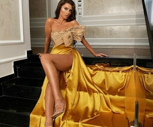 baile, golden, and party dress image