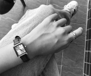 black and white, casio, and hands image