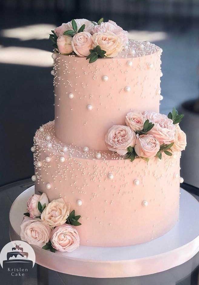 cake, wedding cake, and pink cake image