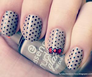 bow, dots, and nail art image