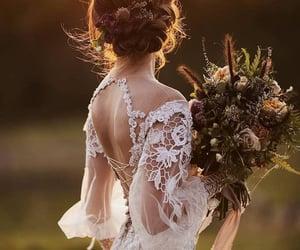 bride and groom, bridesmaids, and wedding image