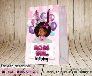 african american, paper bag, and pink theme image