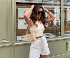 paris france, white shorts, and long brown hair image