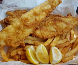 food, chips, and fish and chips image