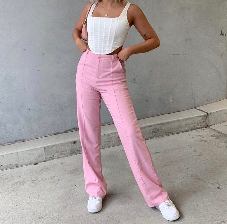 wide leg pants, white crop top, and cute summer outfit image