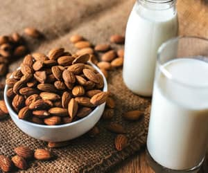 almond, glass, and milk image