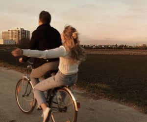 couple, bike, and love image