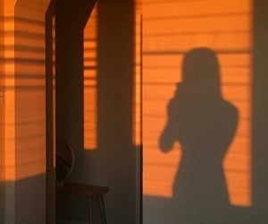 shadow, girl, and orange image