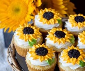 cupcake, sunflower, and food image