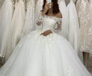 ball gown, wedding dress, and wedding gown image