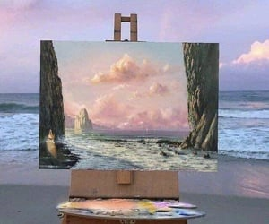 beach, art, and painting image