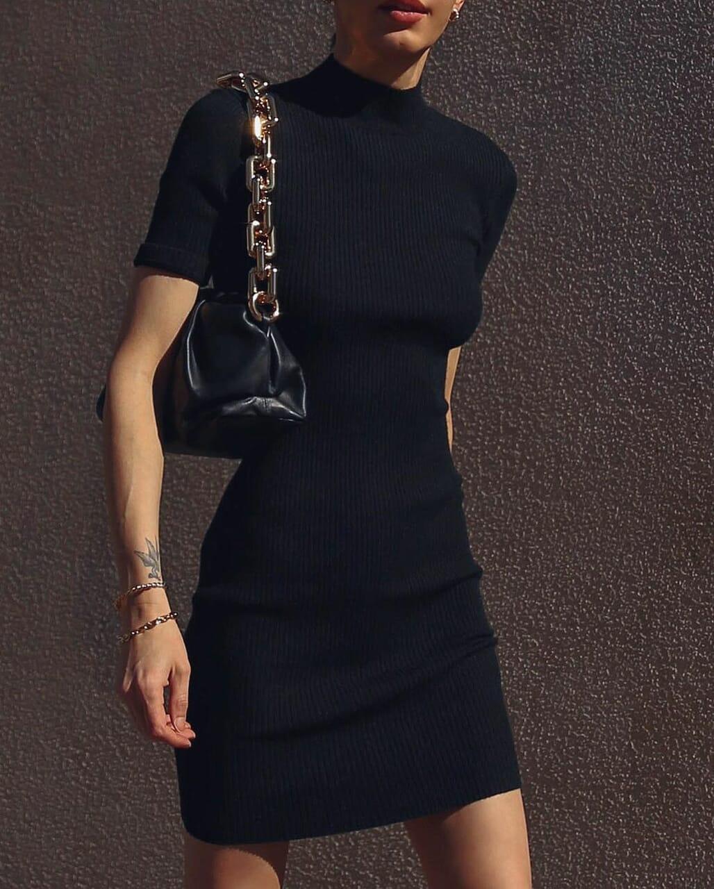 black dress, blogger, and bottega veneta image