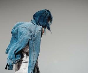 blue hair, x, and lee siyeon image