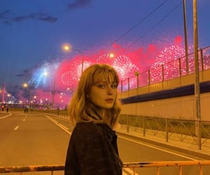 bangs, blonde, and fireworks image