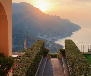 cliffs, italy, and sunset image