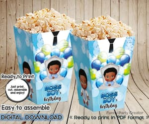 african american, popcorn box, and birthday party image