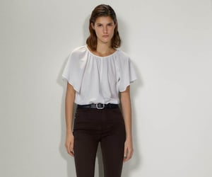 romantic, massimo dutti, and ruffle blouse image