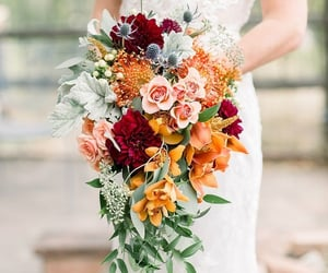 bouquet, red, and flowers image