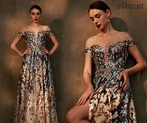 party dress, off-shoulder, and night wear image