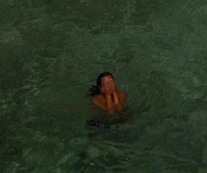sea, girl, and swimming image