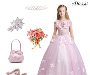 cap sleeves, pink flower girl dress, and kid's dress with lace image