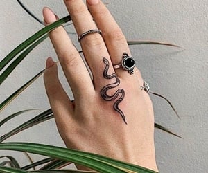 tattoo, nails, and snake image