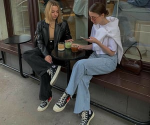 coffee shop, evening, and fashion image