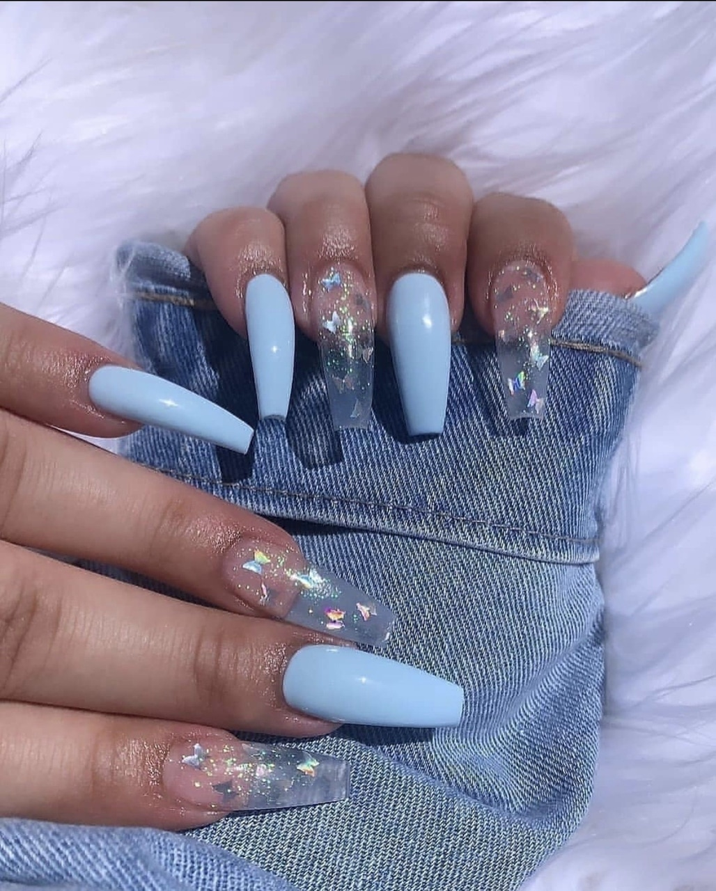 nails, blue, and butterfly image