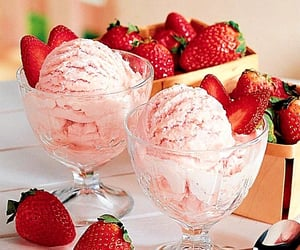 strawberry, ice cream, and food image