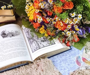 book, flower, and reading image
