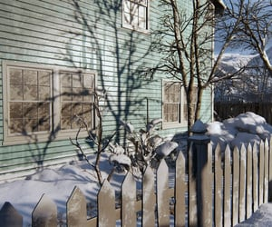 fence, snow, and house image