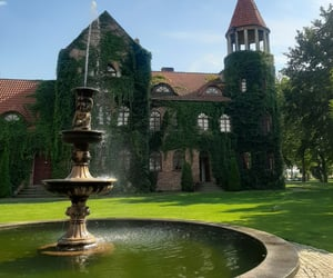 castle, fountain, and green image