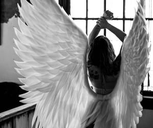 aesthetic, angel, and black & white image
