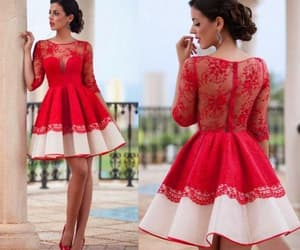 red prom dresses, short homecoming dress, and lace prom dresses image