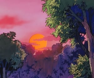 anime, aesthetic, and sunset image