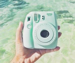 camera, mint, and polaroid image