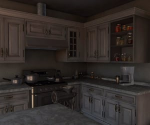 brown, cabinet, and pantry image