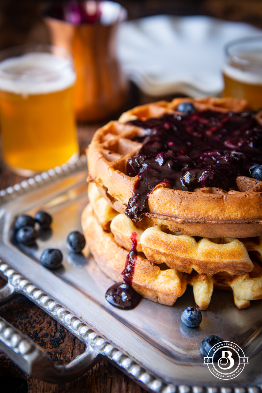 Overnight Yeasted Beer Waffles with Blueberry Syrup – The Beeroness