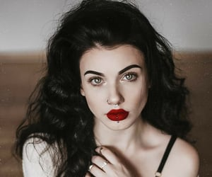 aesthetic, black hair, and lipstick image