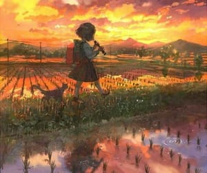 закат, девочка, and красиво image