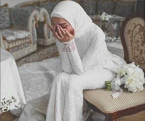 aesthetic, hijab, and wedding dress image