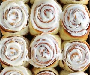 breakfast, cinnamon rolls, and food image