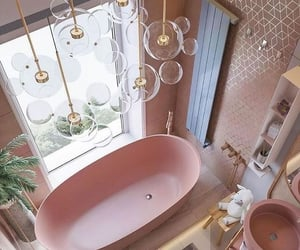 pink, architecture, and bathroom image