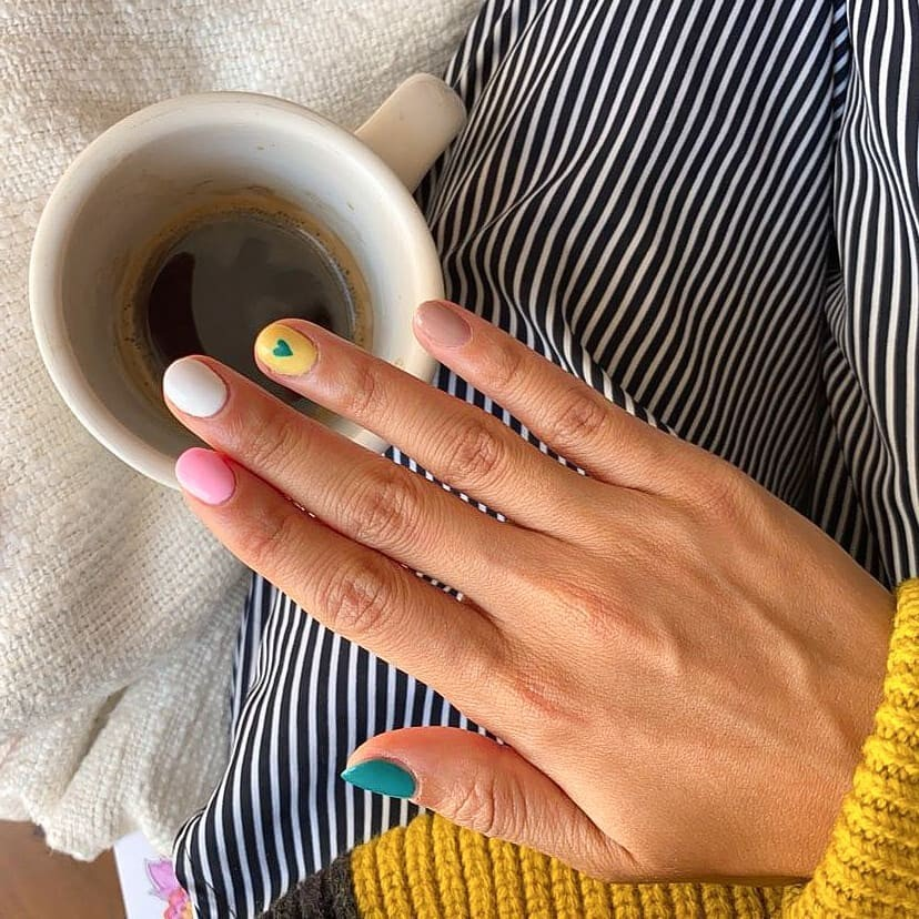 aesthetic, colourful, and gel nails image