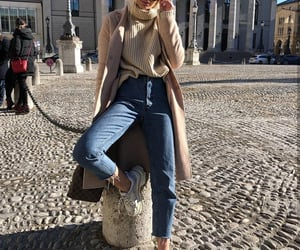 coat, denim, and fashion image