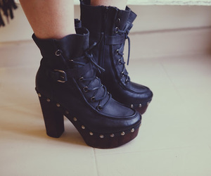 ankle boots, black heels, and fashion image
