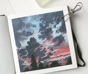 sunset art, gouache landscape, and sketchbook painting image